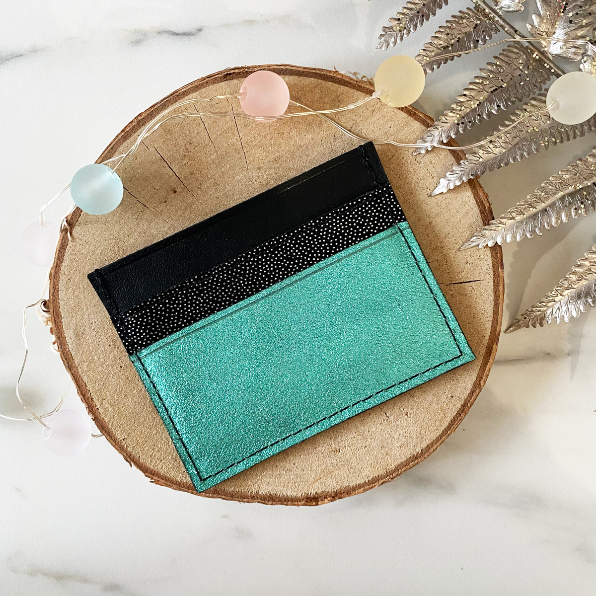 Porte-cartes noir, pailleté & turquoise